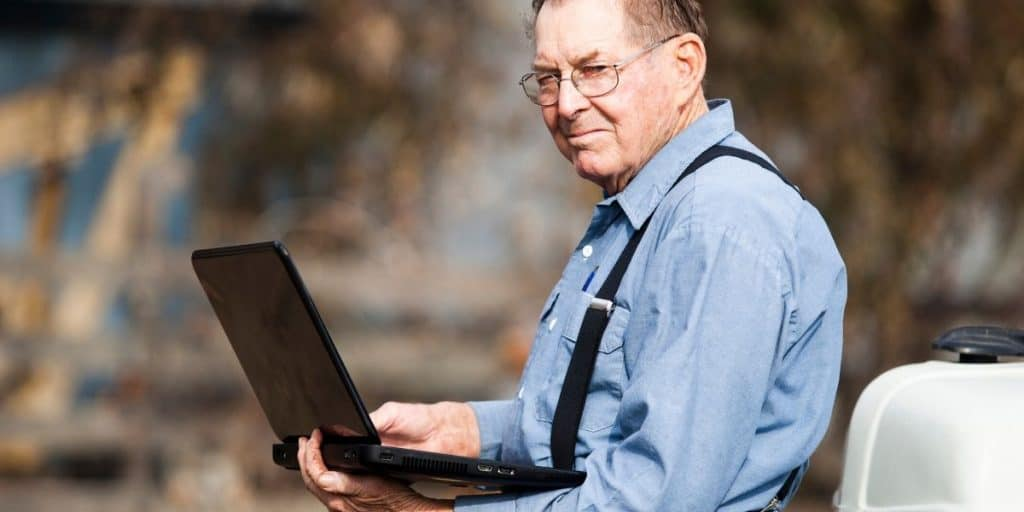 farmer using a laptop